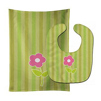 Carolines Treasures  BB8594STBU Flower on Stripes Baby Bib & Burp Cloth