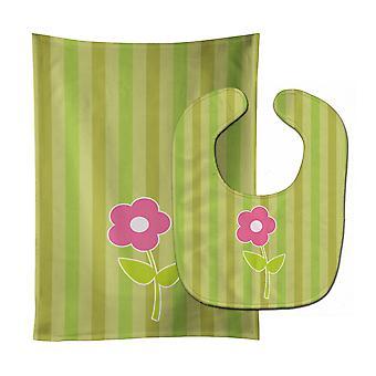 Carolines skarby BB8594STBU kwiat na paski Baby Bib idealna Burp tkanina