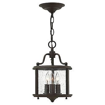 HK/GENTRY/P/S OB Gentry 3 Light Bronze Round Hanging Ceiling Lantern