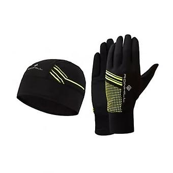 Beanie And Glove Set Black/Fluo Yellow