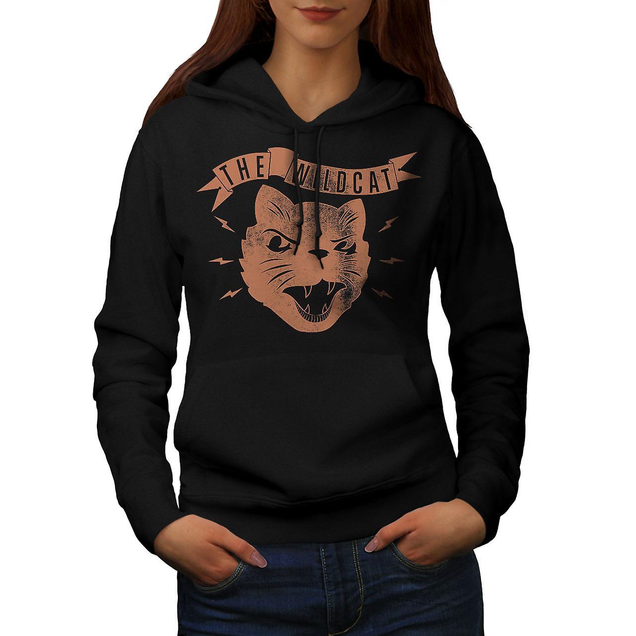 The Wildcat Angry Vintage Women Black Hoodie | Wellcoda