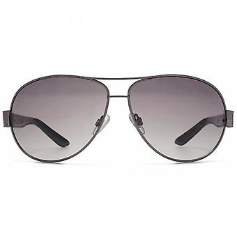 French Connection Combination Pilot Sunglasses In Shiny Gunmetal