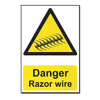 ASEC Highly Visible `Danger: Razor Wire` Sign 200mm X 300mm