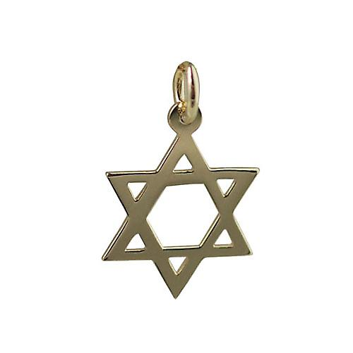 18ct Gold 17x17mm plain Star of David Pendant