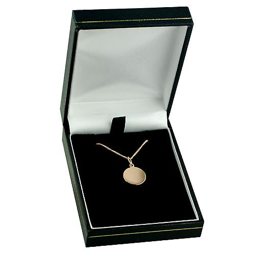 9ct Rose Gold 13mm round St Christopher with Curb chain