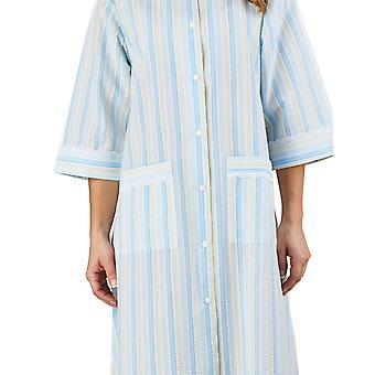 Slenderella HC1224 Frauen Streifen Seersucker blauen Morgenmantel Loungewear Robe 3/4 Länge Ärmel Bademantel