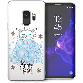 Samsung Galaxy S9 Angry Cat Bubbles Cartoon TPU Gel Case – White