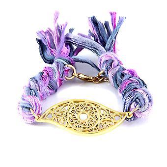 Ettika - Bracelet yellow gold eye and cotton ribbons braided purples