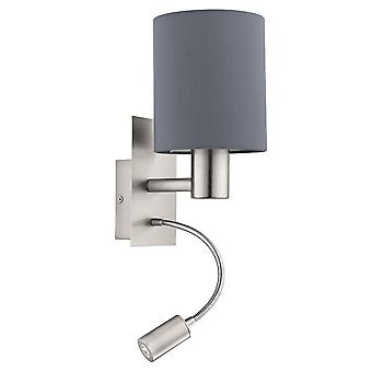 Eglo Pasteri Nickel And Grey Hotel Room LED Wall Reading Light