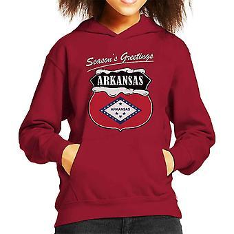 Seasons Greetings Arkansas State Flag Christmas Kid's Hooded Sweatshirt