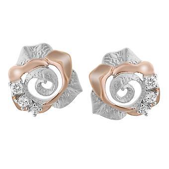 Orphelia Silver 925 Earring roze grote bloem Zirc ZO-7091/1