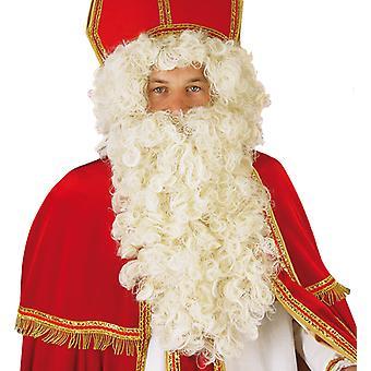 Santa-Claus Set Nikolaus Perücke Rauschebart Weiß