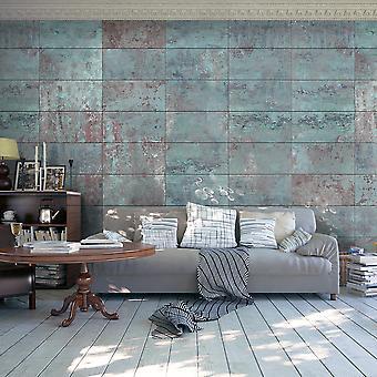 Behang - Turquoise beton