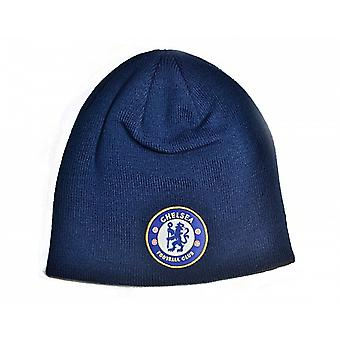 Chelsea Fc Woven Turned Up Beanie Hat (Vy) - Official Product