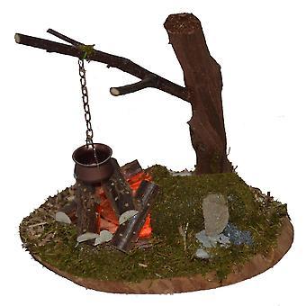 Nativity accessories stable Nativity set Campfire flickering light wood copper boiler