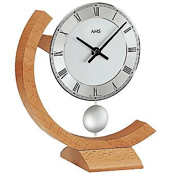 Tischuhr Holztischuhr Quarzuhr mit Pendel Buche Tisch Uhr Holz