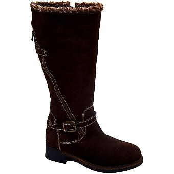 Ladies Leather Upper And Inner Knee High Low Heel Women's Boots Shoes