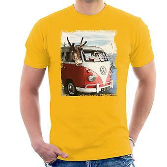 Volkswagen Santa And Reindeer T1 Camper Van Men's T-Shirt