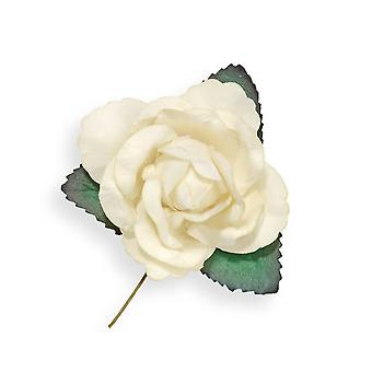 12 Ivory 45mm Paper Rose Flowers | Artificial Fabric Craft Flowers