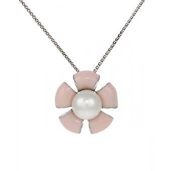 La plata francesa de Cavendish y esmalte melocotón flor colgante con cadena de plata de 16-18