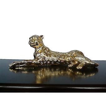 Leopard in gold, the sculpture 53x20x15 cm