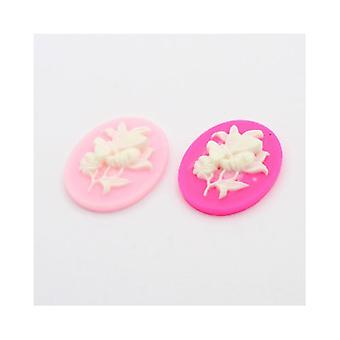 10 x blek rosa/Fuchsia harpiks leilighet bakre 22 x 30 mm ovale 7mm tykk Cabochon Y04140