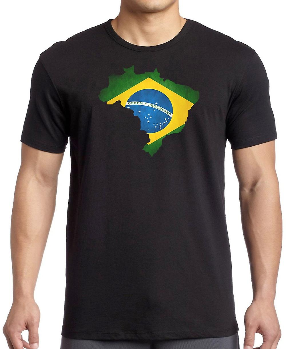 Brazilian Brazil Flag Map -  T Shirt