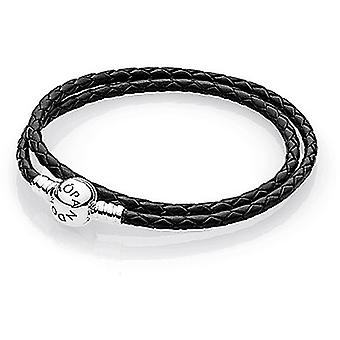 PANDORA noir tressé Double-Leather Charm Bracelet