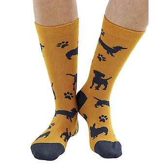 Pet Dog soft bamboo organic crew sock in yellow | seriouslysillysocks