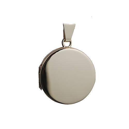 9ct Gold 20mm plain flat round Locket