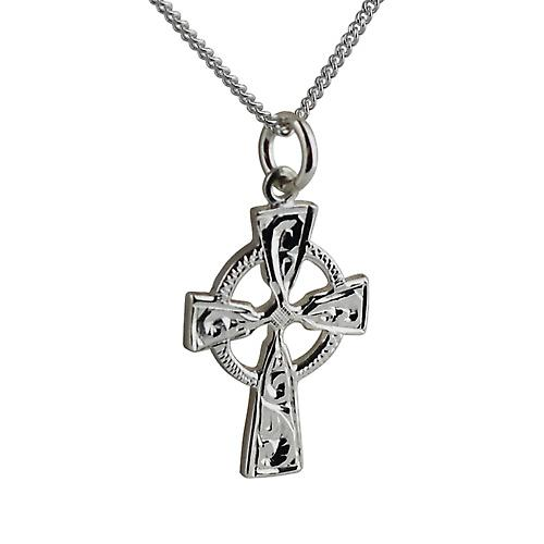 Silver 23x16mm hand engraved Celtic Cross with a curb Chain 18 inches