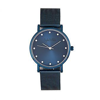 Sophie & Freda Savannah Mesh Bracelet Watch w/Swarovski Crystals - Blue