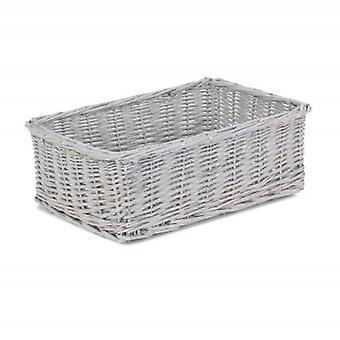 Extra Large Grey Wash Wicker Tray