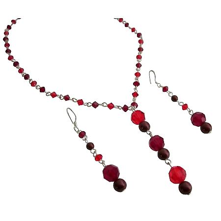 Christmas Gift Wedding Crystals Siam Red & Garnet Handcrafted Jewelry