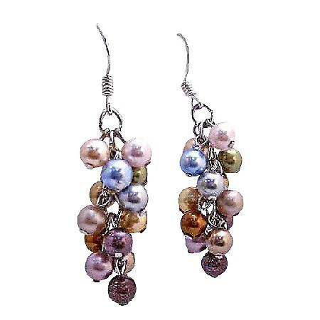Multicolored Swarovski Pearls Earrings Sterling Silver Pearls Earrings