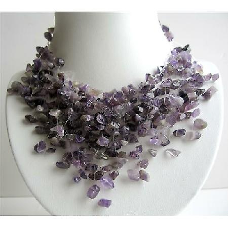 Amethyst Stone Nugget Stone Chip Multiple Drop Tassel Lovely Necklace