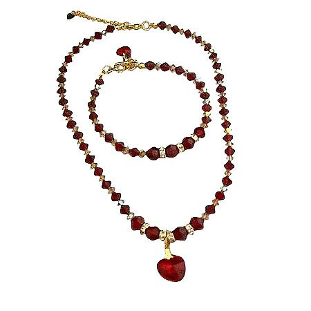 Swarovski Siam Red Crystals Heart Pendant Necklace Bracelet Gold Tone