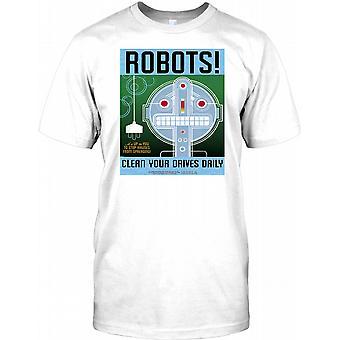 Robots - Clean Your Drives - Cyberpunk Design Mens T Shirt