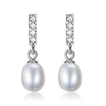 925 Sterling Silver Fine Grain  Pearl Drop Earrings