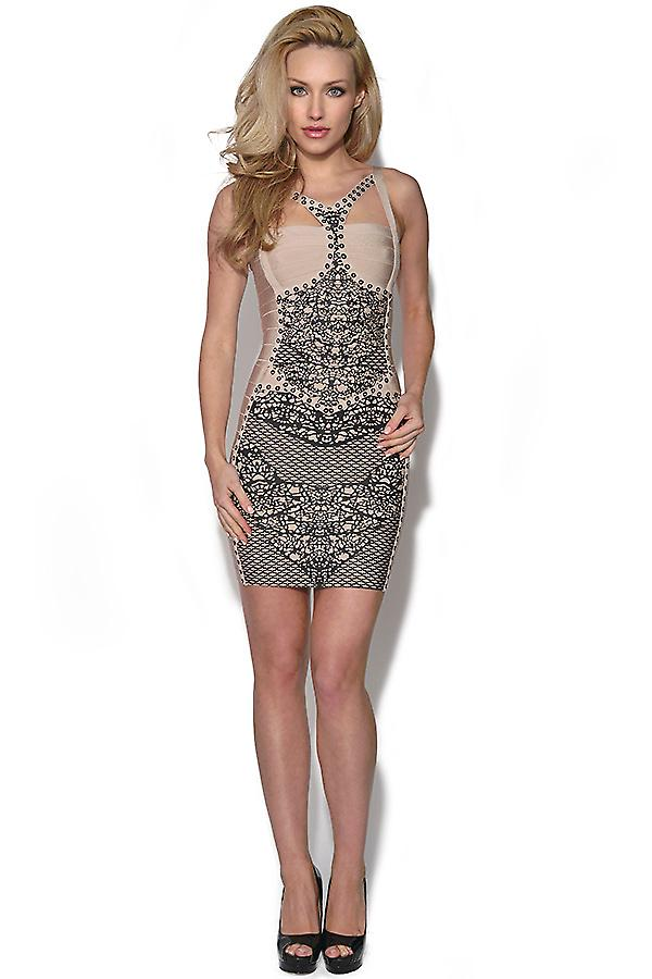 Cut Out Aztec Print Bandage Dress