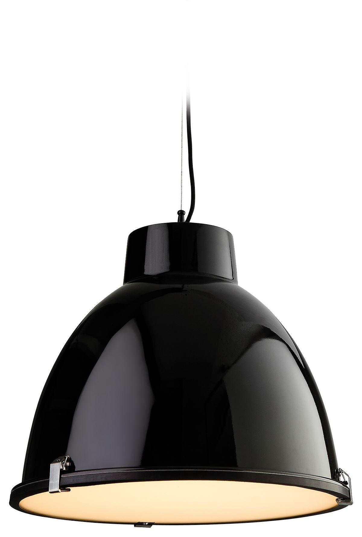 Firstlumière - 1 lumière Ceiling pendentif noir, Frosted Glass - 8621BK