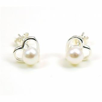 The Olivia Collection Sterling Silver Pearl Heart Stud Earrings