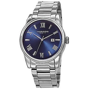 Akirbos XXIV AK1056SSBU Men's Classic Quartz Date Bracelet Watch