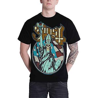 Ghost T Shirt Statue of Liberty Skulled Papa Band Logo Official Mens New Black