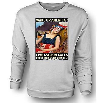 Womens Sweatshirt våkne Amerika - krigen plakat