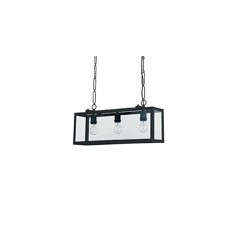 3 Light Ceiling Lantern Pendant Bar noir, Clear Glass Plates