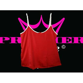 Premier Lingerie Red Lycra Cami Top with White Trim (ss7)