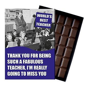 Leaving Gift For Best Teacher Teaching Assistant Gift boxed Chocolate Greeting Card Present CDL222