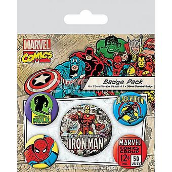 Marvel Comics Iron Man 5 round Pin Badges in Pack (py)
