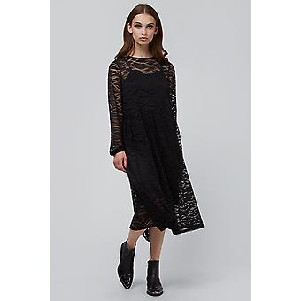 JDY Vilda Long Sleeve Lace Midi Dress Black